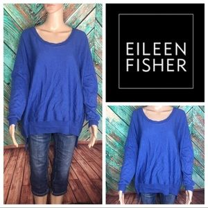 Eileen Fisher Merino Wool Blue Pullover Sweater
